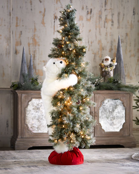 White Bear on Lighted Frosted Tree, 6'