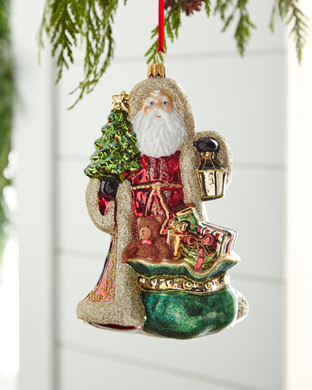 Red & Green Collection Santa with Hooded Coat Ornament