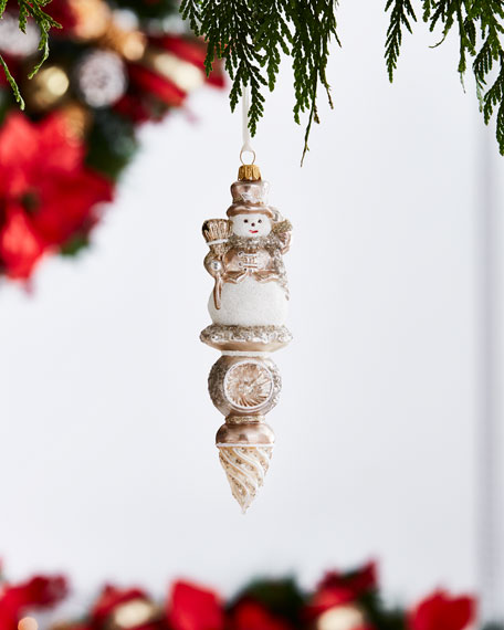 Gold & Glitter Collection Snowman Finial Ornament