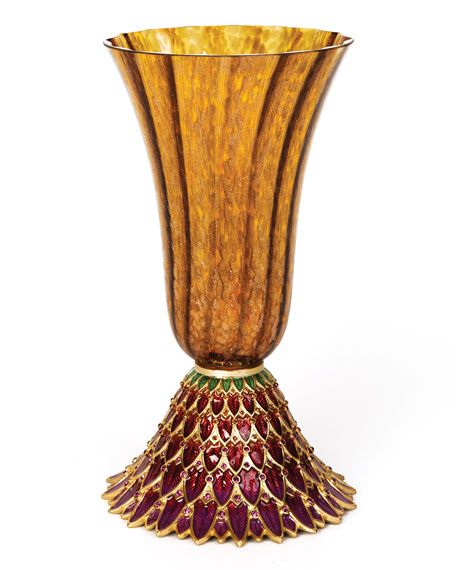 Brocade Feather Vase