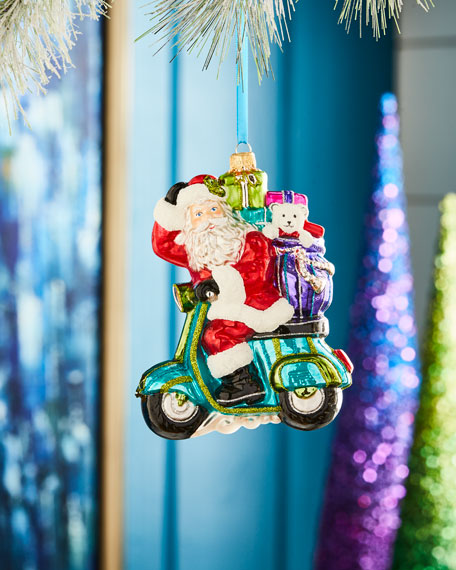 Playful Brights Collection Santa on Scooter Ornament