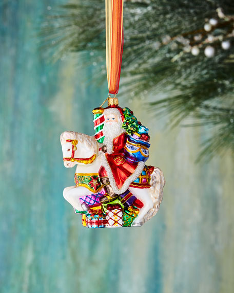 John Huras Santa on Carousel Ornament