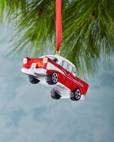 Retro Car with 2017 License Plate Ornament