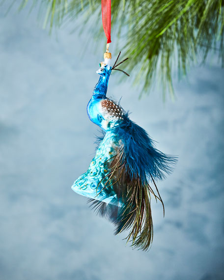 Peacock Christmas Ornament with Feathers