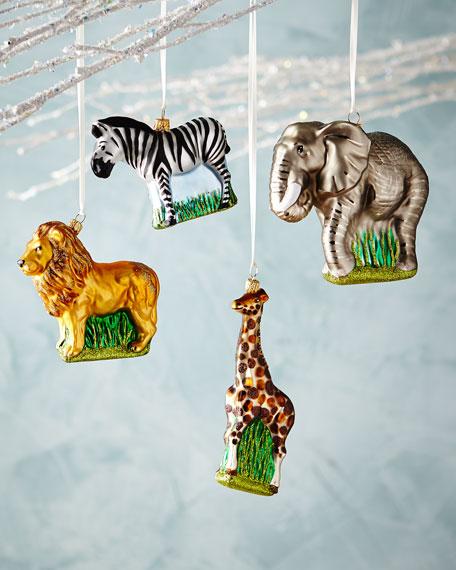 Wild Animal Ornaments, Set of 4