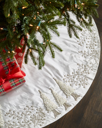 white silver collection tree skirt - White Christmas Tree Skirts
