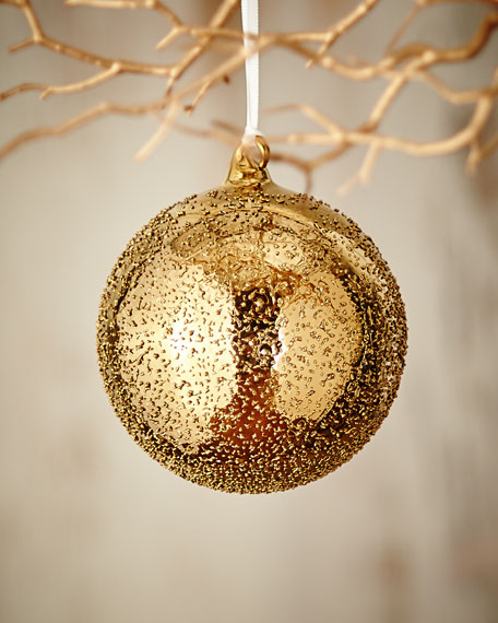 """Gold & Glitter Collection Beaded Ball Ornament, 4.75"""""""