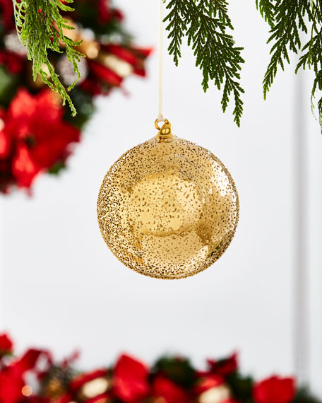 Gold & Glitter Collection Beaded Ball Ornament, 4""