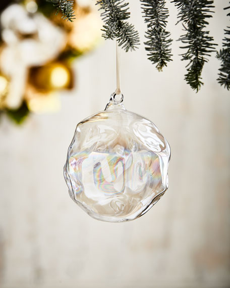 White & Silver Collection Iridescent Ball Ornament, 4.75""