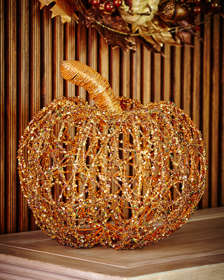 Beaded Twine Pumpkin, 15""