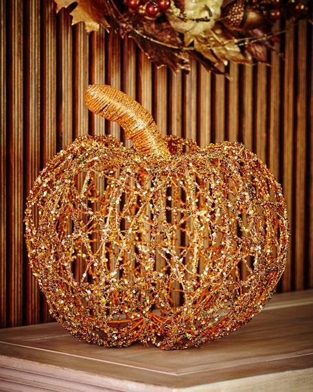"Beaded Twine Pumpkin, 15"""