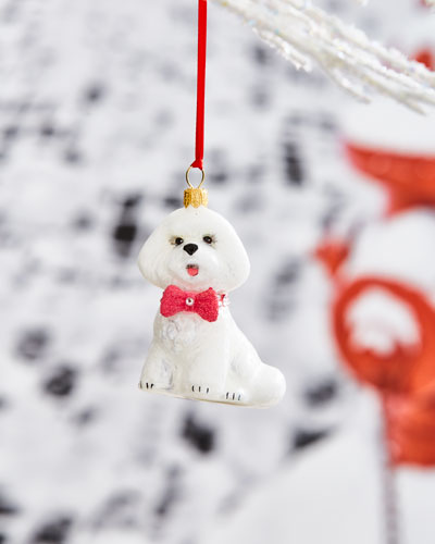 Bichon Frise with Pink Bow Ornament