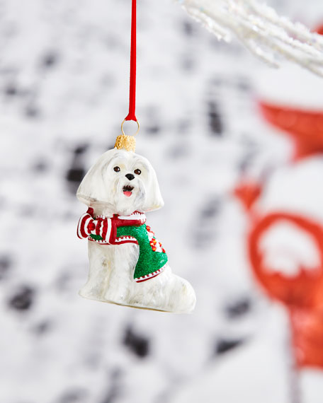 Maltese with Candy Cane Ornament