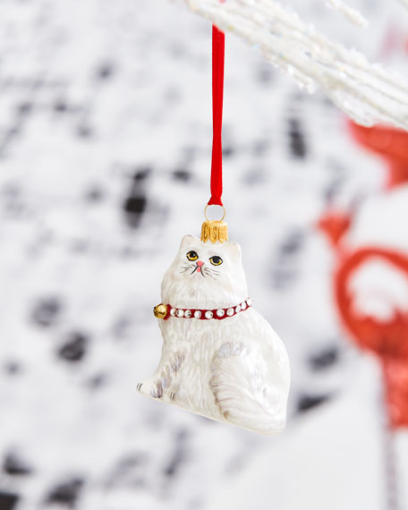Persian Cat with Crystal Collar Ornament