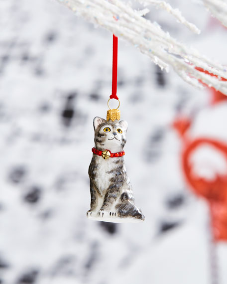 Gray American Shorthair Cat with Crystal Collar Ornament