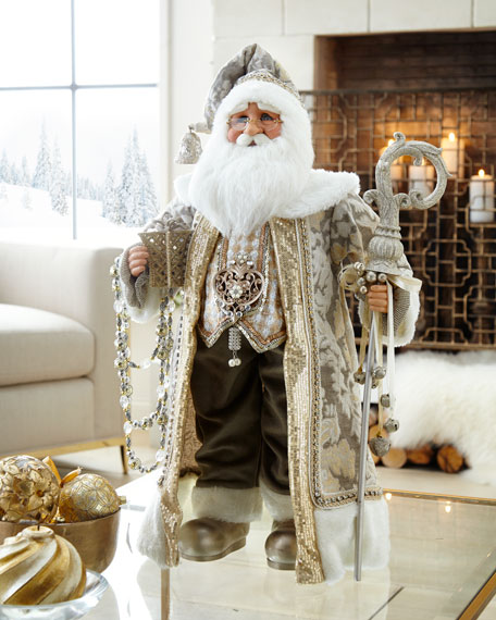 Cream and Gold Santa