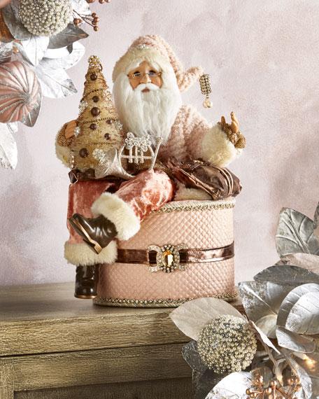 Coral Santa on Hat Box