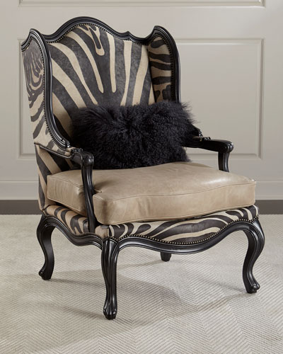 Wilder Leather Zebra Wing Chair
