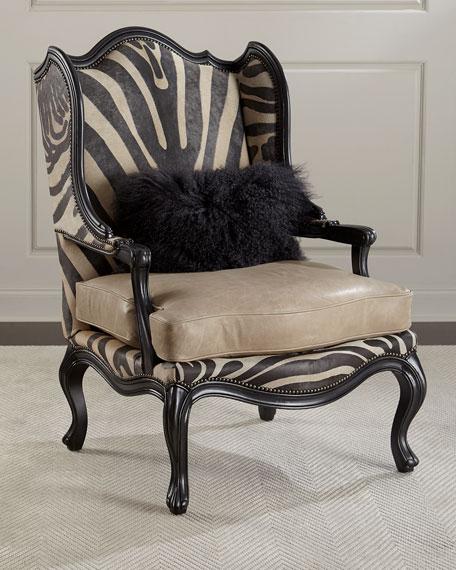 Gentil Massoud Wilder Leather Zebra Wing Chair