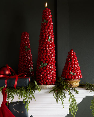 Red Berry Tree Candle  Tall