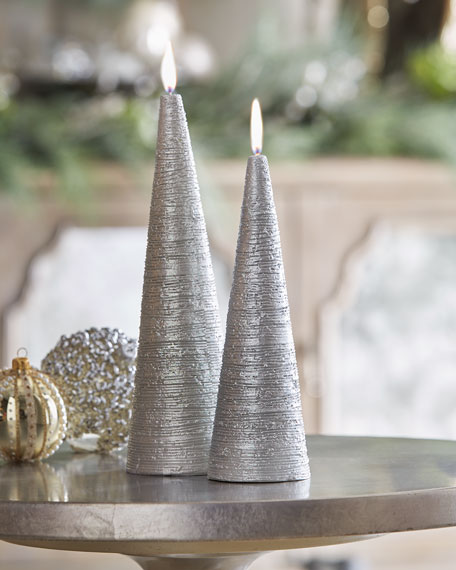 Silvery Cone Candle, Large