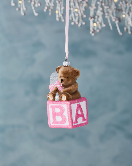 Bear on Block Ornament, Pink