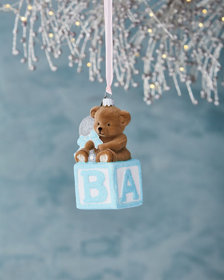 Bear on Block Ornament, Blue