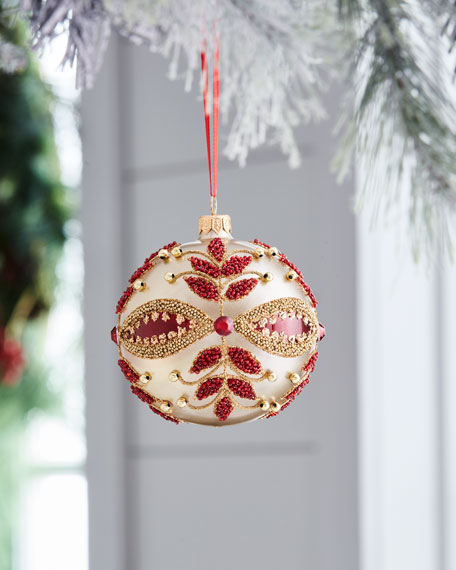 Red & Green Collection Beaded-Floral Ornament