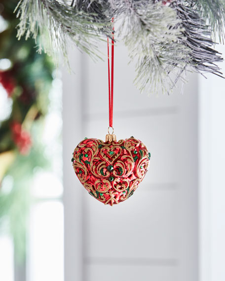 Red & Green Collection Red/Baroque Heart Ornament