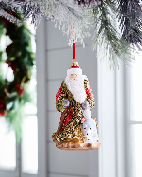 Red & Green Collection Santa with Polar Bear Ornament