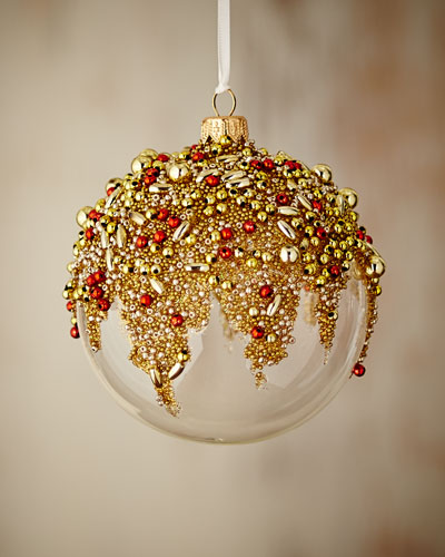 Gold & Glitter Collection Clear/Golden/Red Ornament