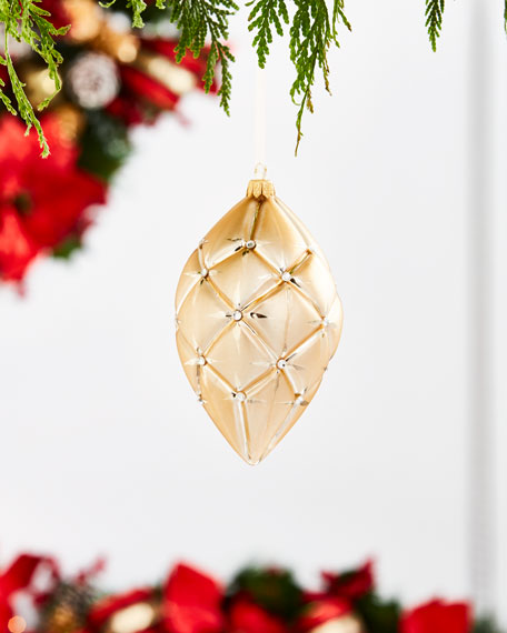Gold & Glitter Collection Matte Golden Quilted Finial Ornament
