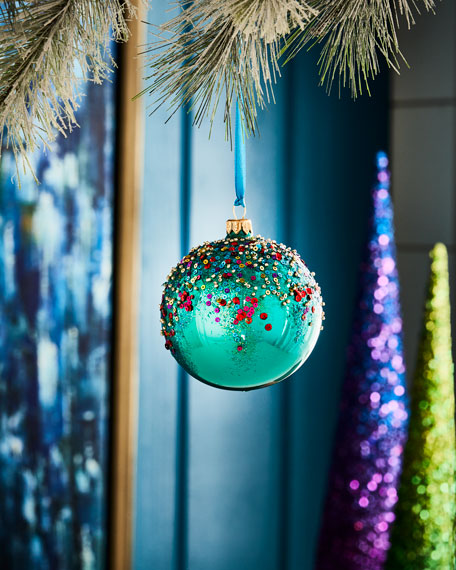 Playful Brights Collection Turquoise-Hue/Beaded Ornament
