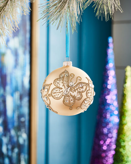 White & Silver Collection Matte Champagne/Butterflies Ornament