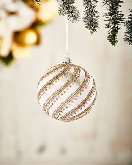 White & Silver Collection Pearlized Ivory/Swirls Ornament