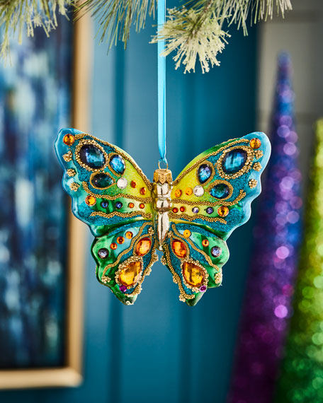 Playful Brights Collection Green & Blue Butterfly Ornament,
