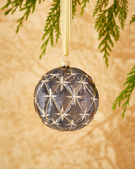 Clear/Navy Quilted Ornament