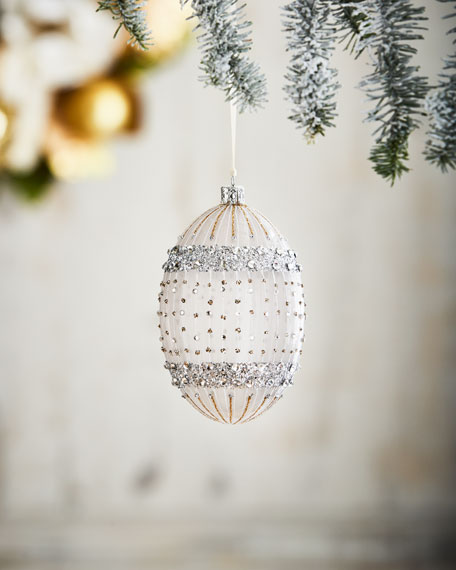 White & Silver Collection Egg Ornament