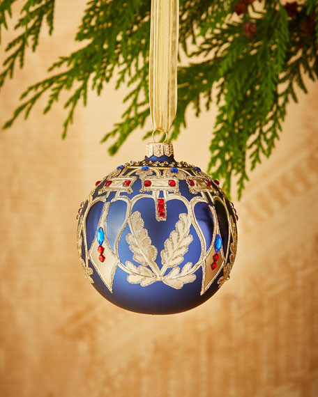 "4"" Matte Navy Ornament with Golden Leaves"