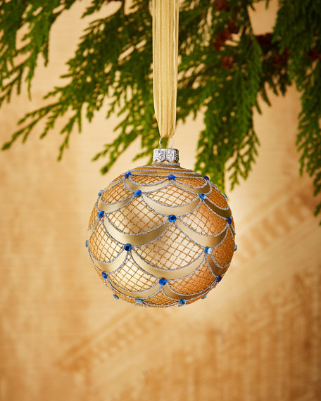 Swag and Faux-Gem Ornament, 4""