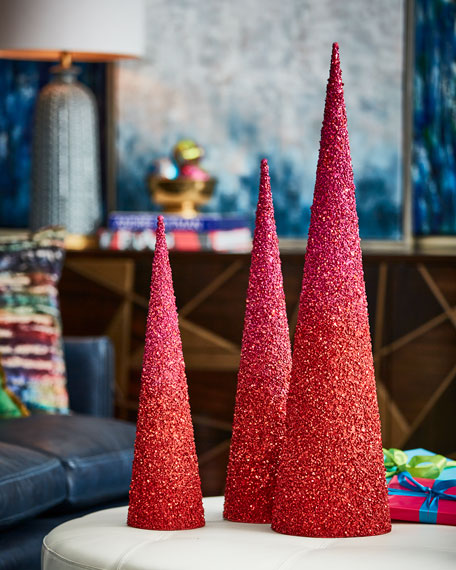 Playful Brights Collection Pink/Red Glitter Christmas Trees, Set