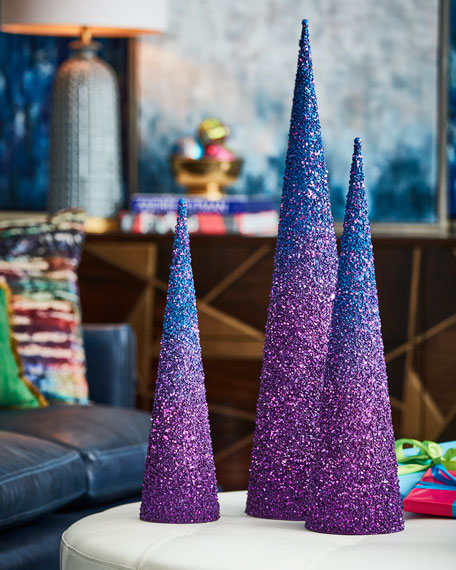 Playful Brights Collection Blue/Purple Glitter Christmas Trees,