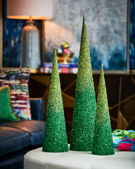 Playful Brights Collection Green/Lime Glitter Christmas Trees, Set of 3