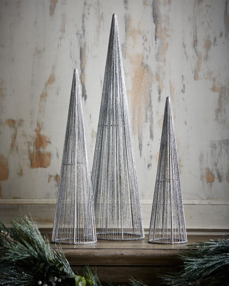 silver glitter wire christmas trees set of 3. Black Bedroom Furniture Sets. Home Design Ideas