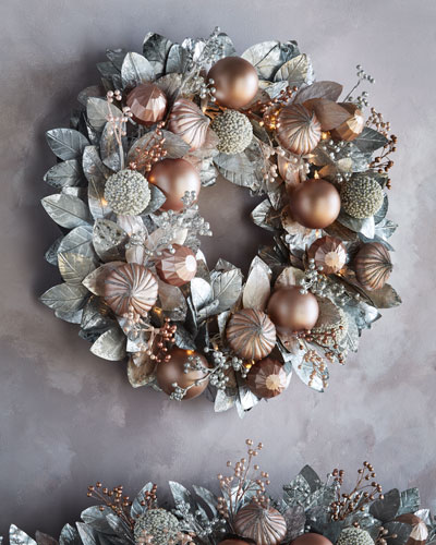 Blush & Pewter Collection Pre-Lit Wreath