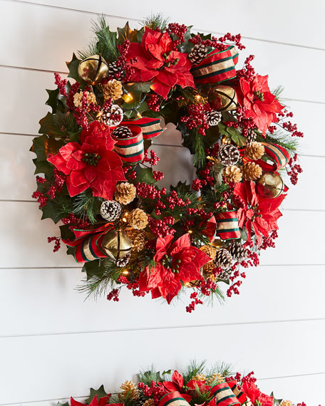 Red & Green Collection Pre-Lit Wreath
