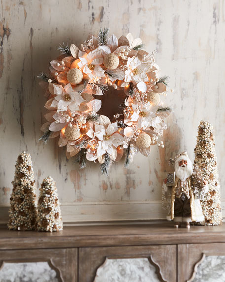 White & Silver Collection Pre-Lit Wreath