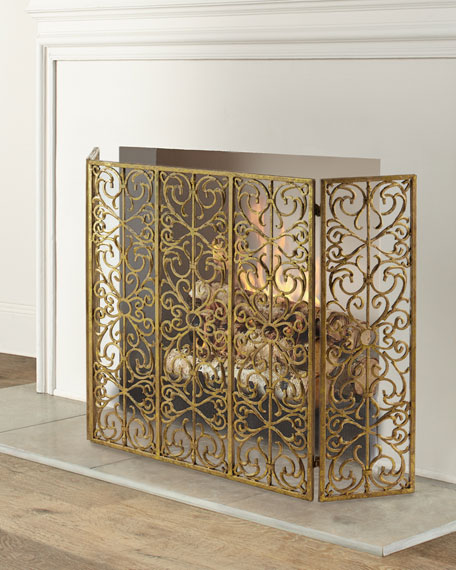 Iron Three-Panel Fire Screen