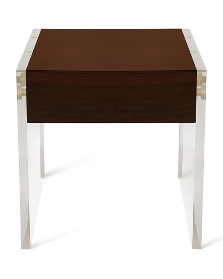 Welsh Acrylic & Wood Side Table