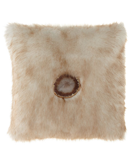 Iliana Camel Faux-Fur Pillow
